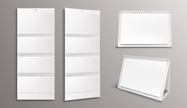 Calendar mockup with blank pages and binder. Desktop and wall paper calender front and side view. Agenda, almanac template isolated on grey background. Realistic 3d vector illustration, mock up, set