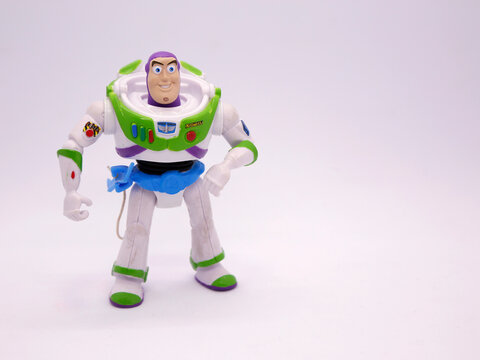 Toy story movie. Buzz Lightyear. Pixar and Disney movie toys. Astronaut. I will be your faithful friend. Isolated white.