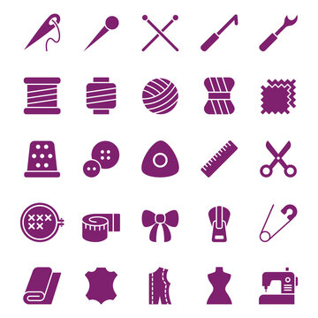Web icon set of sewing equipment and needlework. Vector illustration