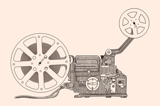 Retro cinema projector for showing the film on the screen.