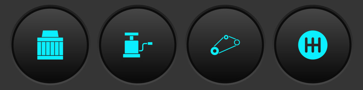 Set Car air filter, pump, Timing belt kit and Gear shifter icon. Vector.