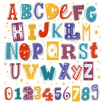 Funny kids font. Comic childish latin letters and arabic numbers, creative bright colorful english cute alphabet, cartoon multicolored typeface with hand drawn elements vector isolated set