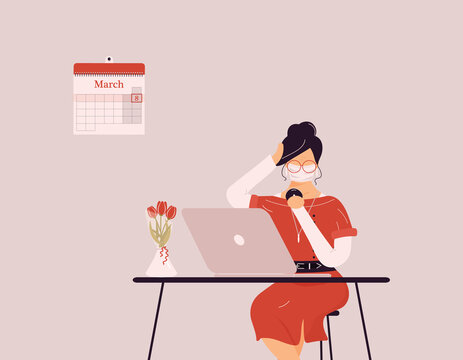 March 8 International Women`s Day.Cute brunette woman in protective medical mask preening work on laptop.Vase with tulips on desk.Smart lady trainer,coach or accountant on webinar or workshop.Raster