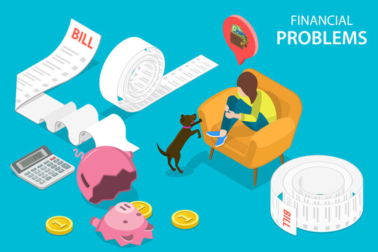 3D Isometric Flat Vector Conceptual Illustration of Money Troubles, Financial Problems, Business Crisis and Bankruptcy, Upaid Bills or Loan Debt.