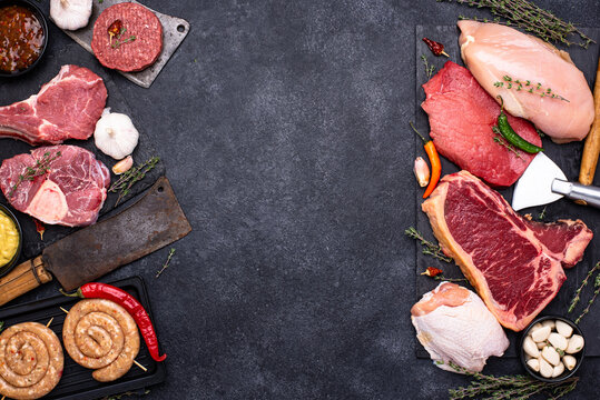 Assortment of various types of meat