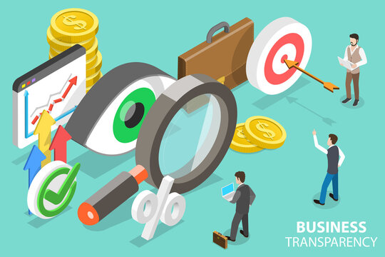 3D Isometric Flat Vector Conceptual Illustration of Transparency and Financial Clarity, Corruption and Illegal Business, Anti Corruption Policies.