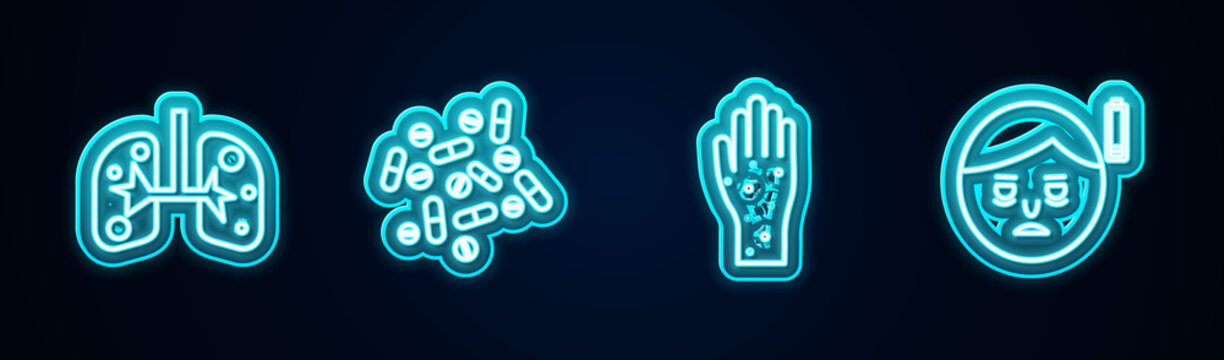 Set line Lungs, Medicine pill or tablet, Hand with psoriasis eczema and Fatigue. Glowing neon icon. Vector.