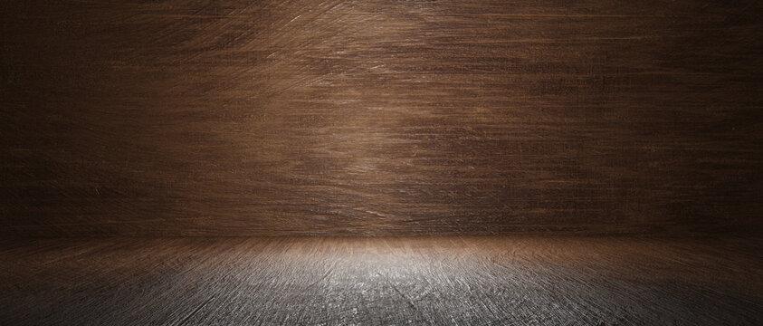 Old wood floor or table with dark woodblock wall in dark room background.