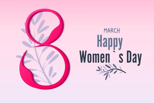 March 8, women's day. Vector, 3d greeting card made of paper. Pink background. Madness, happy women.Vector illustration.