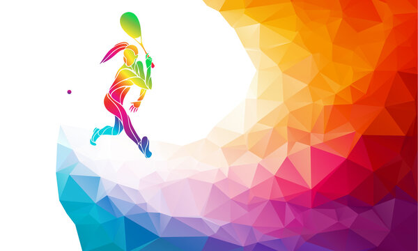 Creative silhouette of female squash player. Racquet sport vector illustration or banner template in trendy abstract colorful polygon style with rainbow back