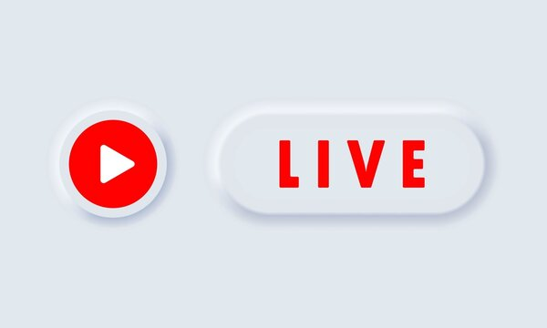 Live button. Live stream. Social media concept. Blogging. Vector EPS 10. Isolated on white background