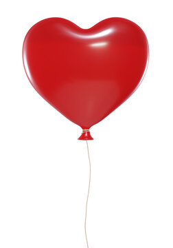 balloon in shape of heart, red, valentine's day, isolated on white background, 3D render