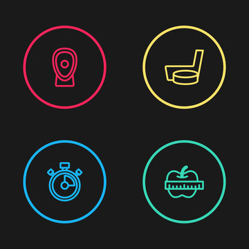 Set line Stopwatch, Apple and measuring tape, Ice hockey stick puck and Boxing training paws icon. Vector.