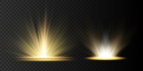 Obraz Light highlight yellow special effect with rays of light and magic sparkles. Sun Ray . Glow transparent vector light effect set, - fototapety do salonu