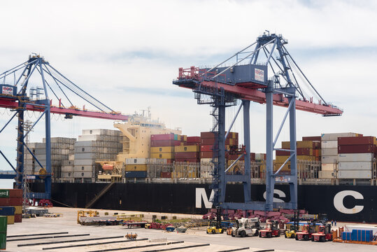 Rio de Janeiro, Brazil - January 24, 2021: Container ship MSC loading and unloading in sea port of the city.