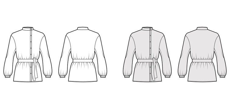 Cossack blouse technical fashion illustration with tie, bouffant long sleeves, stand collar, oversized, button up. Flat apparel top template front, back, white, grey color. Women men unisex CAD mockup