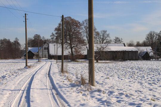 Winter im Spreewald;  Hof bei Burg