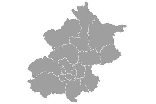 Grey blank Beijing Municipality China map.