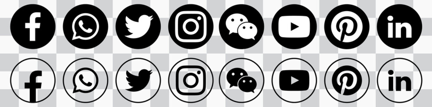 Big Set of Social Media Icons. 20 Most Rated Icons 2021. Facebook, Whatsapp, Twitter, Instagram, WeChat, Youtube, Pinterest, LinkedIn. Stock Vector