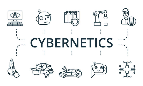 Cybernetics icon set. Collection contain engineering, ethics, fraud, prevention, artificial, intelligence and over icons. Cybernetics elements set.