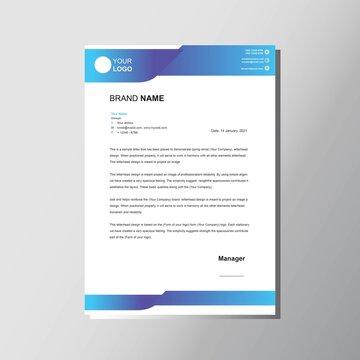 Modern blue letterhead design