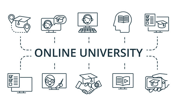 Online University icon set. Collection contain pack of pixel perfect creative icons. Online University elements set.