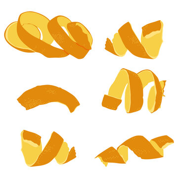 Orange peel, zest vector cartoon set isolated on a white background.