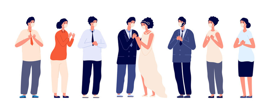 Party in pandemic. Wedding group wear face masks, couple protected guests. Safety bridal ceremony with family and friends utter vector concept. Pandemic wedding party, wife and husband illustration