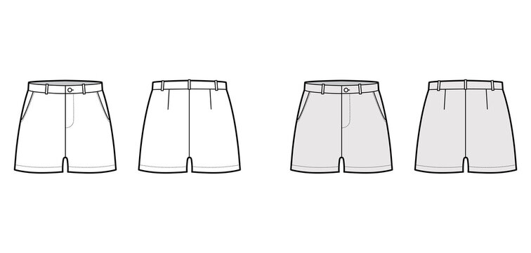 Short pants technical fashion illustration with mid-thigh length, low waist, rise, slashed pocket. Flat bottom apparel template front, back, white grey color style. Women, men, unisex CAD mockup