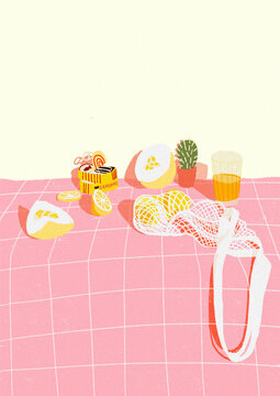 pink and yellow illustration of kitchen table, food and fruits. modern trendy art print.