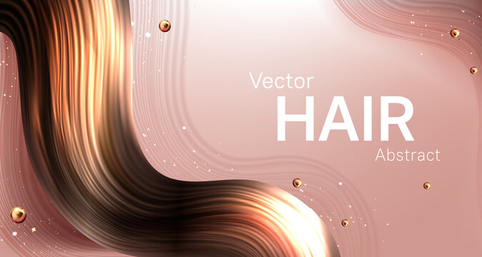 Realistic brown hair strand abstract vector poster