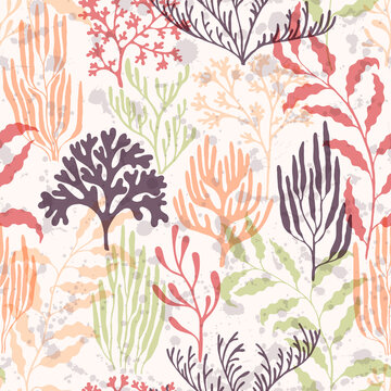 Coral reef seamless pattern., Ocean depth undersea bottom coral reef flourish.