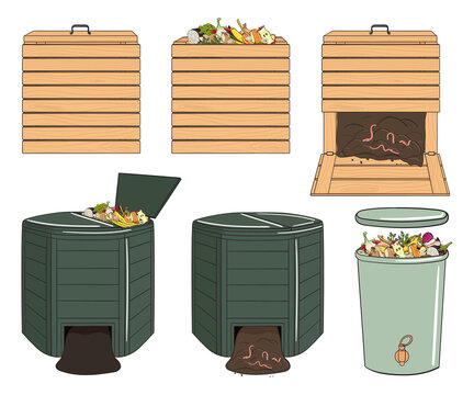 Set of garden wood and plastic composting bins. Garden fertilizer organic with worms. Recycling organic waste. Sustainable living concept