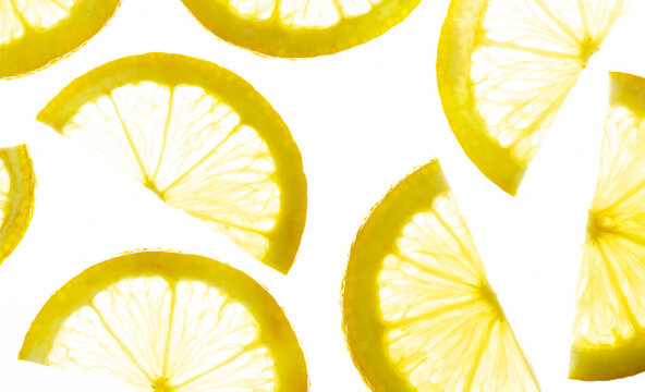 Transparent lemon slices on a white background. Top view
