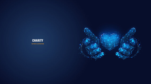 Abstract vector 3d human hands holding or giving heart symbol in dark blue. Charity, volunteering, social care concept. Digital low poly mesh wireframe with connected dots, lines, stars and shapes