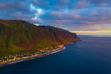 Wall Mural - Aerial view of Paul do Mar on Madeira, Portugal at sunset