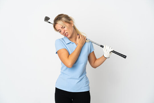 Young Russian golfer woman isolated on white background suffering from pain in shoulder for having made an effort