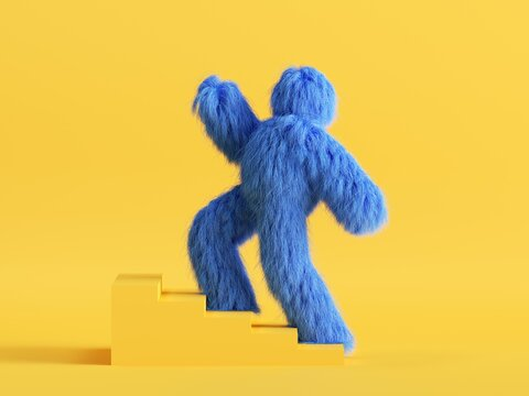 3d render, funny Yeti cartoon character goes upstairs the simple steps. Success concept. Funny toy, hairy blue monster clip art isolated on yellow background