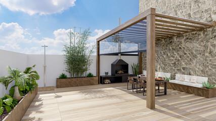 3D illustration of urban patio with wooden teak flooring.