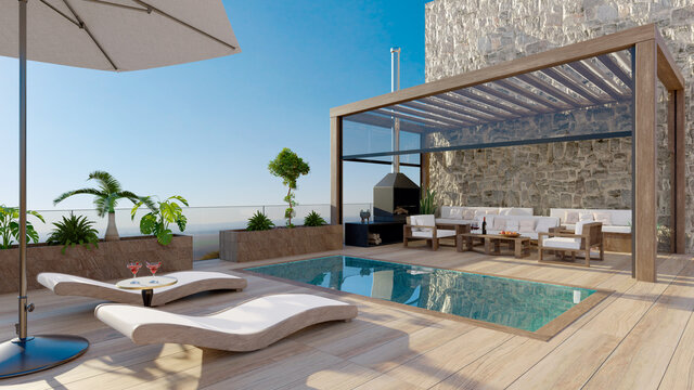 3D render of luxury wooden deck with swimming pool.