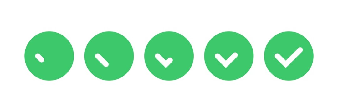 Ok button. Check mark animation kit, green color tokens, tick icons, vector illustration