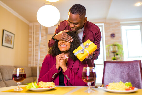 african american couple celebrate 14 february valentines day in living room