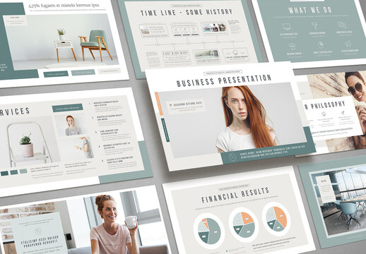Business Presentation with Mint and Pale Orange Accents