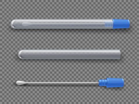 Nasal swab testing tool for coronavirus realistic set. Test tube open, closed with cotton stick.
