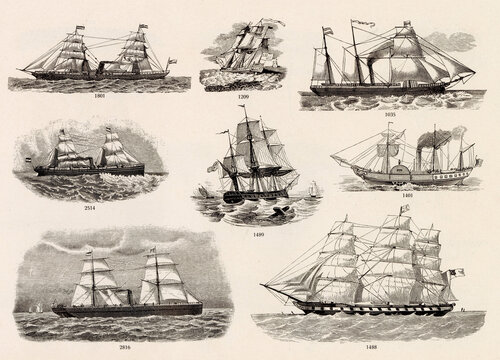 MISCELLANEOUS Selection of Vintage Steam / Sail Boat Related Design Elements