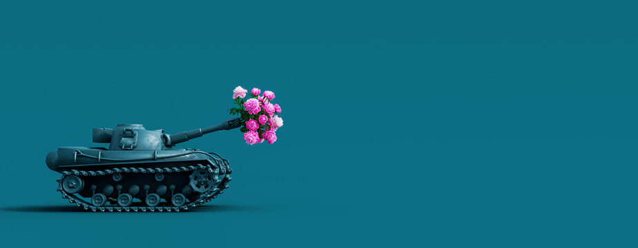 Toy tank fires a bouquet of flowers. Peace concept background 3D Rendering