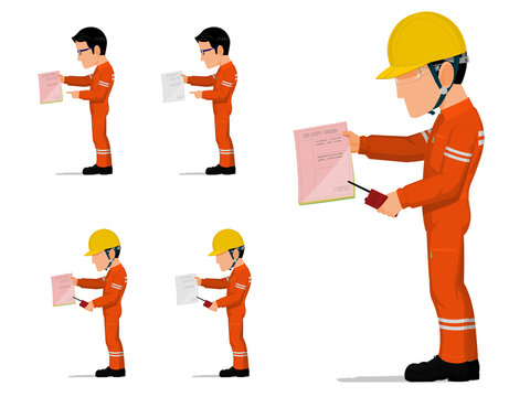 set of an industrial worker is holding some document