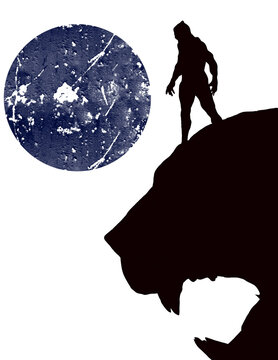 Beautiful Illustrated Silhouette Of Black Panther superhero.