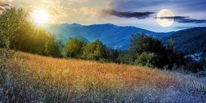 day and night time change concept above rural field in mountains. beautiful landscape of carpathian countryside with sun and moon. trees on the hill, ridge in the distance beneath a sky with clouds