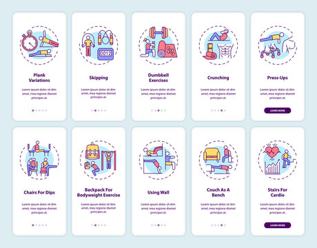 Home fitness online onboarding mobile app page screen with concepts set. Gym exercise alternatives walkthrough 5 steps graphic instructions. UI vector template with RGB color illustrations